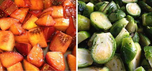 The beautiful colors of sauteed plums and fresh brussels sprouts