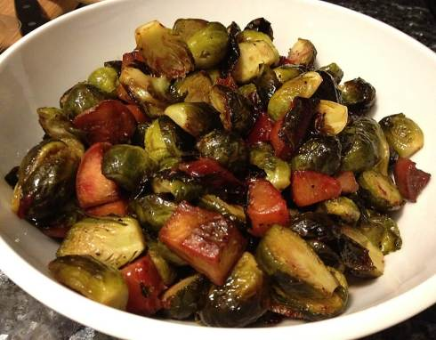 The final product: honey balsamic brussels sprouts with plums