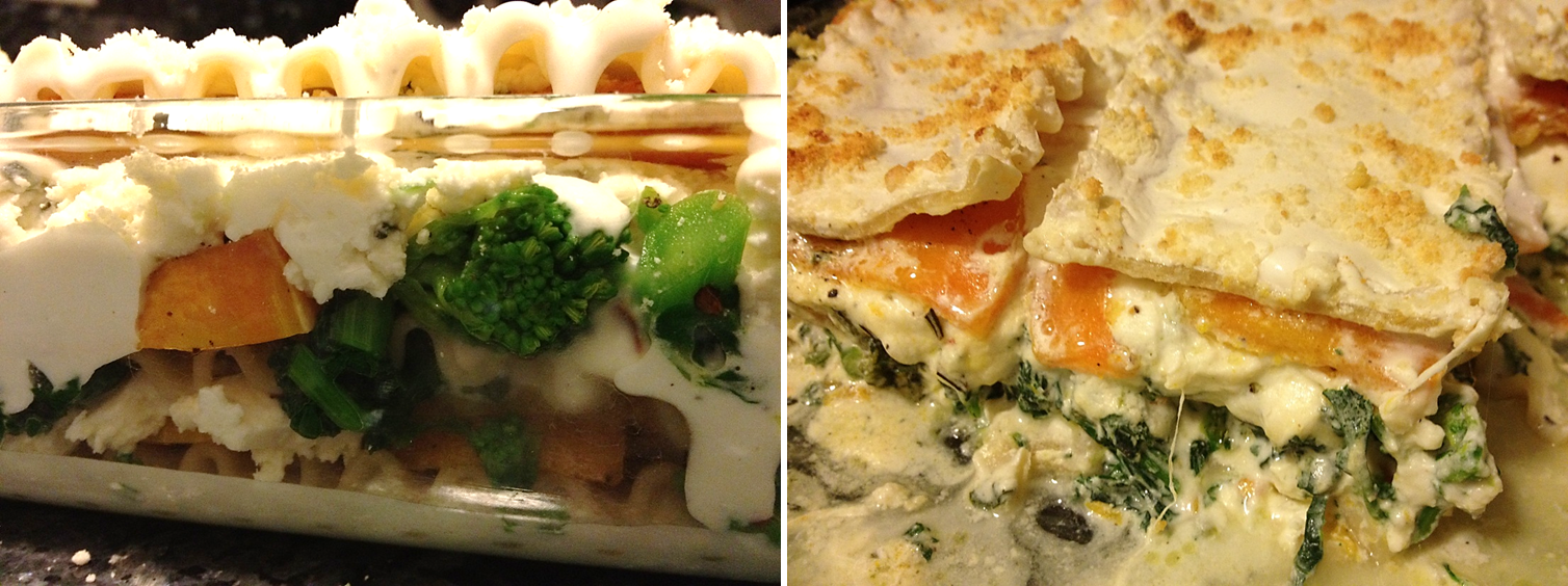 Butternut squash and broccoli rabe lasagna with a zesty ...