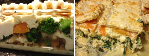 Before and after: butternut squash and broccoli rabe lasagna