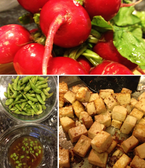 Asian tofu salad: raw ingredients