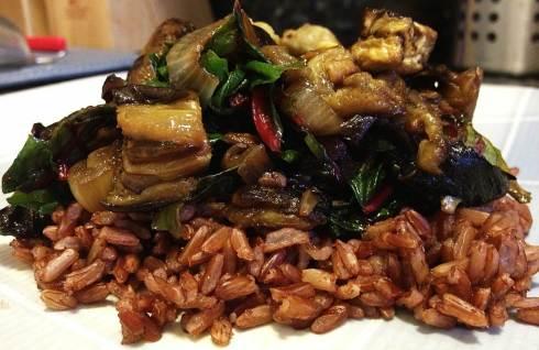 PalateGal_Eggplant and rainbow chard stir fry